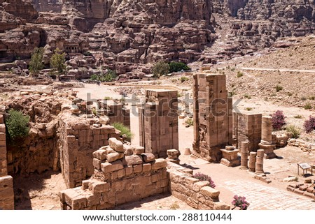 The abandoned city of Petra in Jordan - stock photo