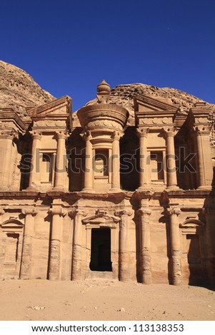 The abandoned city of Petra in Jordan in ancient times was the capital of the kingdom of the Nabateans.