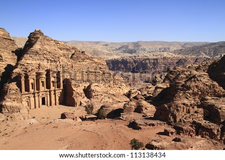The abandoned city of Petra in Jordan in ancient times was the capital of the kingdom of the Nabateans. - stock photo