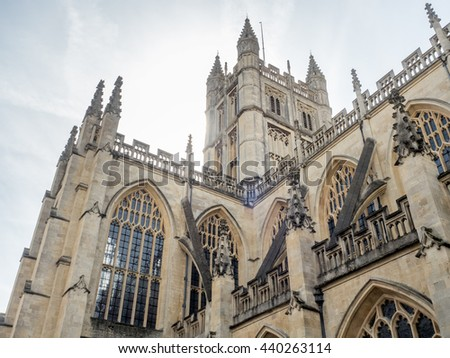 The Abbey Church of Saint Peter and Saint Paul, known as Bath Abbey, English gothic architecture building in Bath, England