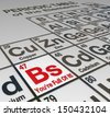 The abbreviation Bs on a peridoic table of elements, with the words You're Full Of It to call out a liar, false, untrustworthy person or company who cannot be trusted - stock vector