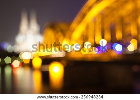 The Abstract Lights of the Kolner Dom in Cologne, Germany - stock photo