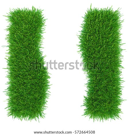 The abstract two part of the area of green grass. 3d rendering