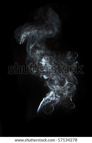 the abstract white smoke on black background - stock photo