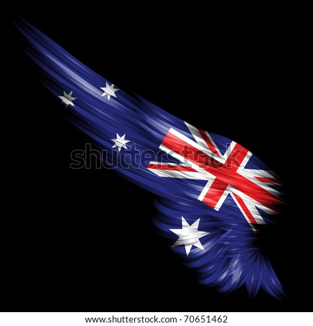 The Abstract wing with Australia flag on black background - stock photo