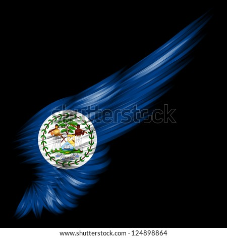 The Abstract wing with Belize flag on black background