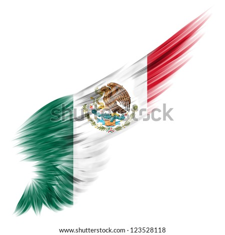 The Abstract wing with Mexico flag on white background - stock photo