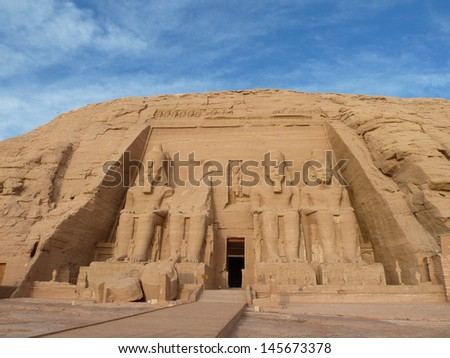 The Abu Simbel temples are two massive rock temples in Abu Simbel in Nubia, southern Egypt. The complex is part of the UNESCO World Heritage.  - stock photo