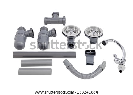 The accessories of kitchen sink isolated on white background - stock photo