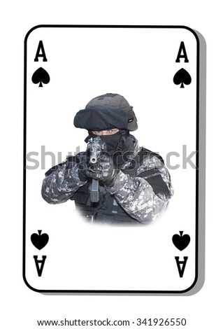 The ace in the fight. Special unit to fight terrorists. Cards are dealt on the table. - stock photo