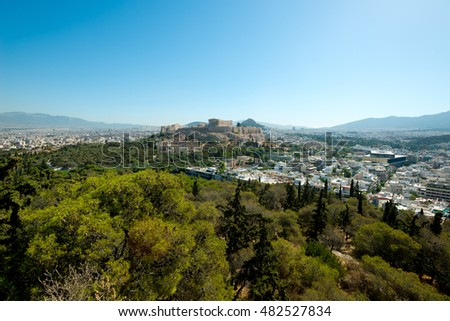 The Acropolis and the city of  Athens, Greece