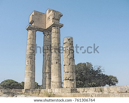 The Acropolis Of The Old City Rhodes, Temple Of Apollo. Ruined Ancient  Greek Columns