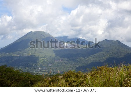 The active volcano of Gunung Lokon viewed from Gunung Mahawu, Tomohon, North Sulawesi, Indonesia.