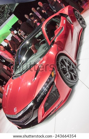 The 2016 Acura NSX supercar at The North American International Auto Show January 12, 2015 in Detroit, Michigan.  - stock photo