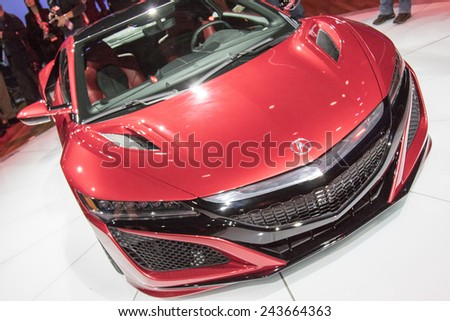 The 2016 Acura NSX supercar at The North American International Auto Show January 12, 2015 in Detroit, Michigan.