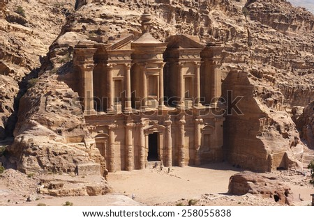 The Ad Deir monastery in Petra in Jordan - stock photo
