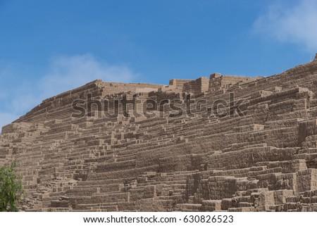 adobe clay pyramid huaca pucllana miraflores stock photo royalty