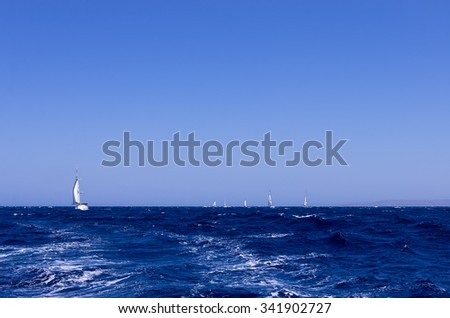 The Aegean sea and sailing yachts, Greece