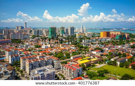 The aerial landscape view of the city during afternoon - Penang, Malaysia.