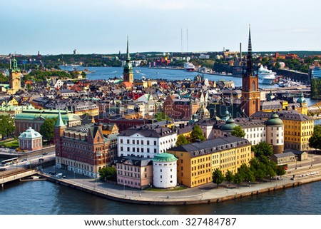 The aerial panorama of Stockholm city in Sweden