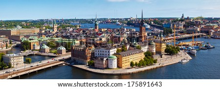 The aerial panorama view of Stockholm city in Sweden