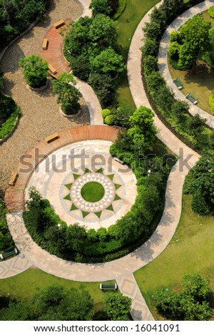 The aerial view of a modern garden.