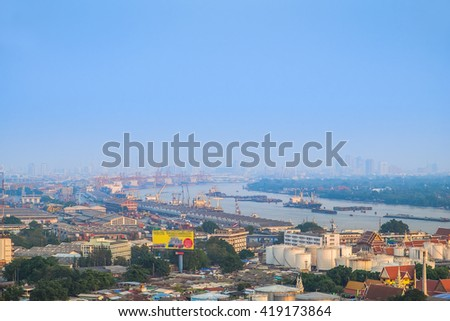 The aerial view of Bangkok skyline at sunset. Major port in central, Thailand.