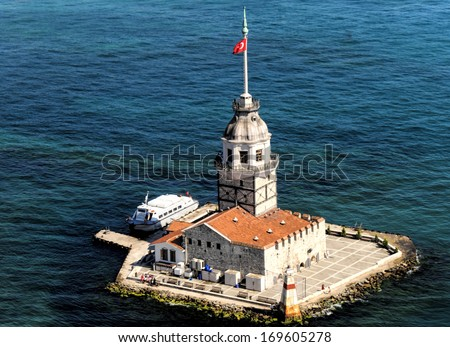 The aerial view of Maiden's Tower in Istanbul - stock photo