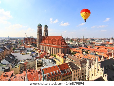 The aerial view of Munich city center from the tower of the City Hall - stock photo