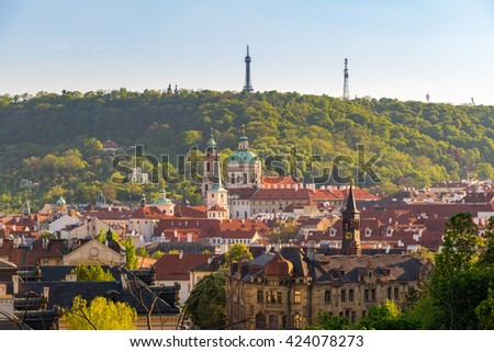 The aerial view of Prague City from Petrin Hill, Czech Republic