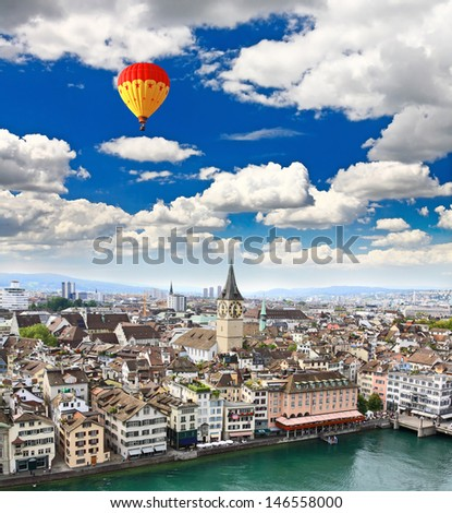 the aerial view of Zurich City Switzerland - stock photo