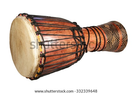 The African traditional drum separately on a white background - stock photo