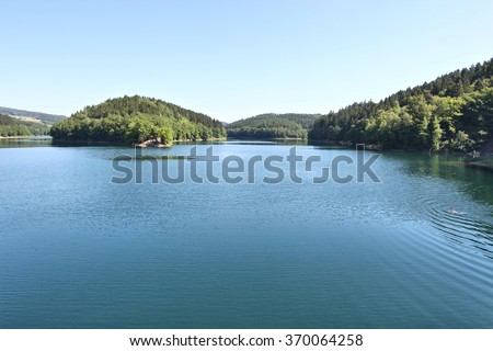 the Aggertalsperre - storage reservoir dammed by the river Agger near Gummersbach/ Germany - stock photo