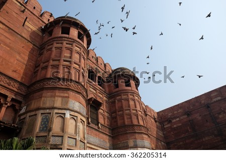 The Agra Fort is a UNESCO World Heritage site located in Agra, India - stock photo
