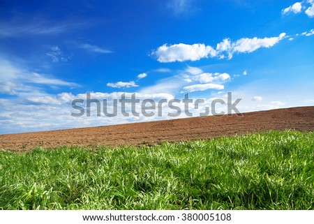 The agriculture arable land field in the spring for crops - stock photo