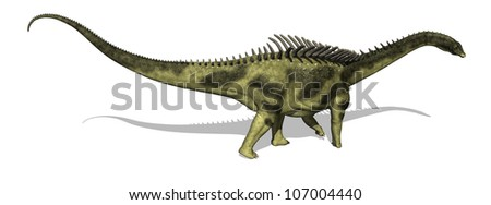 The Agustinia was a sauropod dinosaur that lived during the Early Cretaceous period - 3d render. - stock photo
