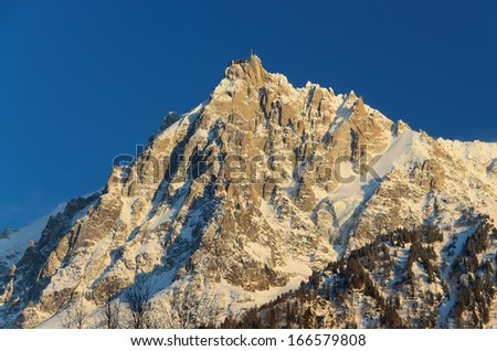 The Aiguille du Midi is a mountain of the Mont Blanc massif in the French Alps. Its summit contains a panoramic viewing platform.