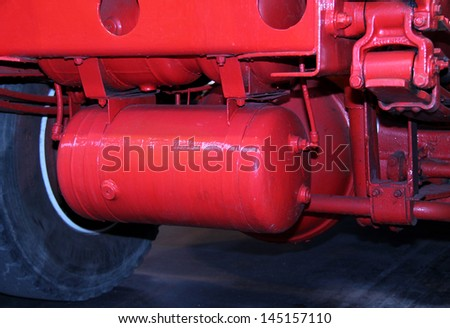 The Air Brake Cylinder of a Large Lorry Truck. - stock photo