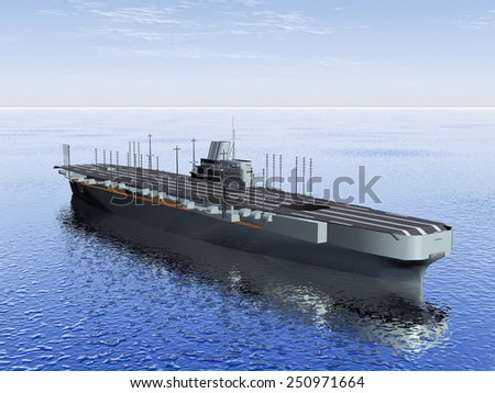 the  aircraft carrier on the sea - stock photo