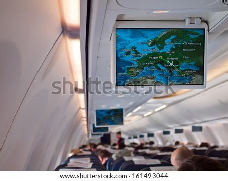 the airplane seat  - stock photo