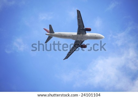 the airplane with blue sky.