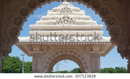 The Akshardham temple in Robbinsville, New Jersey. Final construction is planned to be completed by 2017 and it will spread over 162 acres, making it the largest Hindu temple in the world in acreage. - stock photo