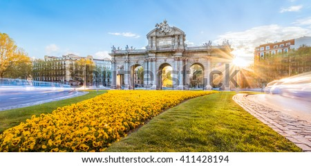 The Alacala Door (Puerta de Alcala) is a one of the ancient doors of the city of Madrid, Spain. It was the entrance of people coming from France, Aragon, and Catalunia. It is a landmark of the city. - stock photo