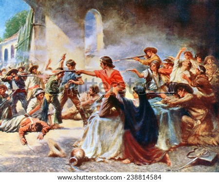 The Alamo. A romantic view of the battle of the Alamo. Reproduction of painting by Percy Moran. 1912. - stock photo
