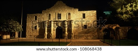 The Alamo at night. It was established in 1718.