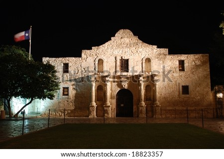 The Alamo at Night;  San Antonio, Texas