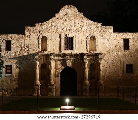 the Alamo lit up at night in San Antonio Texas - stock photo