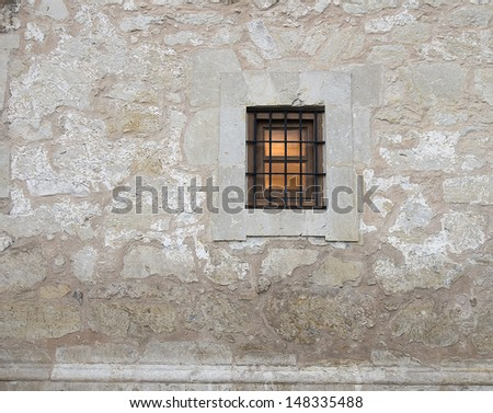 The Alamo National Historic Landmark, San Antonio, Texas/ The Alamo/The well preserved wall and entrance of the Alamo Fort that was instrumental in freeing Texas from Mexico. - stock photo