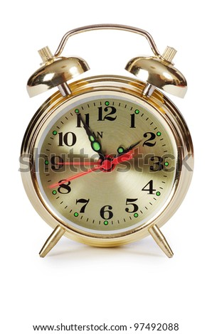 The alarm clock isolated on white background - stock photo