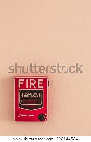 The alarm for alerting the fire. - stock photo